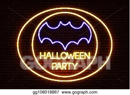 Batlight Shines On Line For Dark Knight >> Eps Illustration Neon Halloween Party Sign Light Vector Isolated