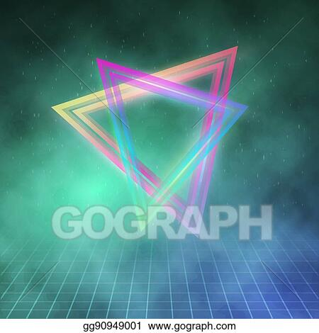 Vector Stock - Neon triangle disco poster template 80s