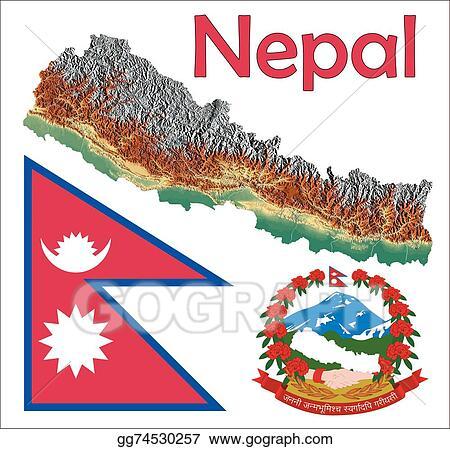 Clip Art Vector - Nepal map flag coat. Stock EPS gg74530257 - GoGraph