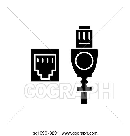 Vector Illustration Network Cable And Socket Black Icon Vector
