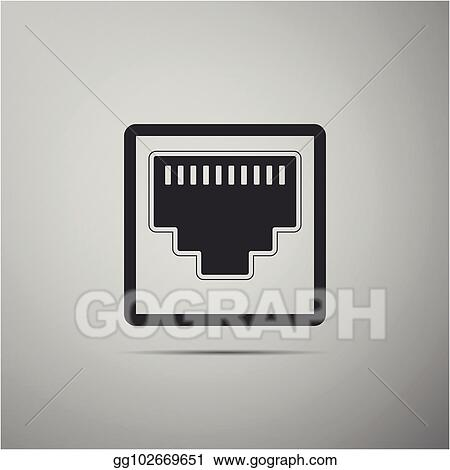 Vector Illustration Network Port Cable Socket Icon Isolated On