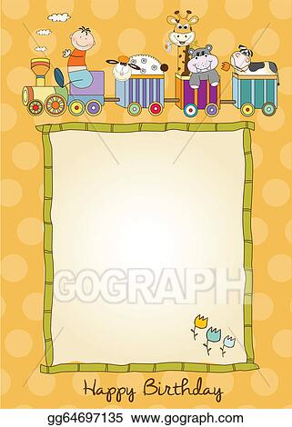 Vector Illustration New Baby Announcement Card With Animals Train