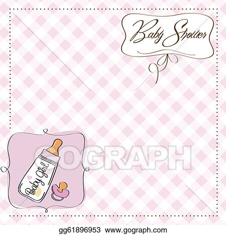 vector art new baby girl announcement card clipart drawing