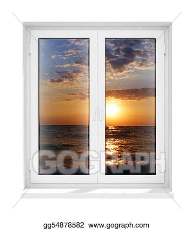 Clip Art - New closed plastic glass window frame isolated. Stock ...