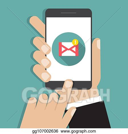 Vector Illustration - New email notification on mobile phone