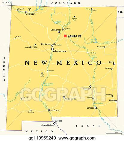 Vector Stock - New mexico, united states, political map. Clipart ...