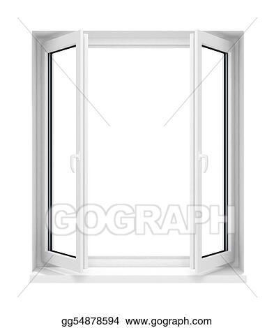 Stock Illustration New Opened Plastic Glass Window Frame