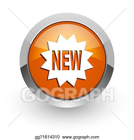 Drawings - New orange glossy web icon. Stock Illustration ...
