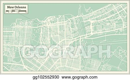 New Orleans In Usa Map.Eps Vector New Orleans Louisiana Usa City Map In Retro Style