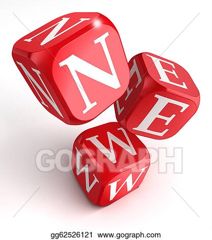 Stock Illustration New Word On Red Box Dice Clipart