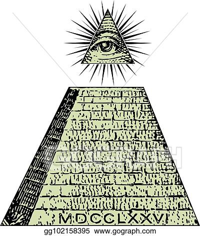 Clip Art Vector New World Order One Dollar Pyramid Illuminati