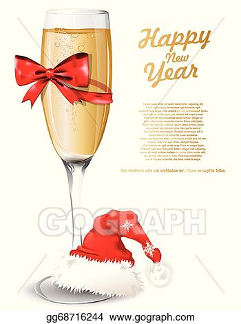 new year background with glass of champagne