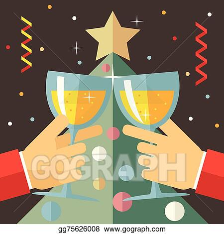 new year celebration success and prosperity symbol hands holds a glasses with drink icon on stylish christmas tree background modern flat design vector