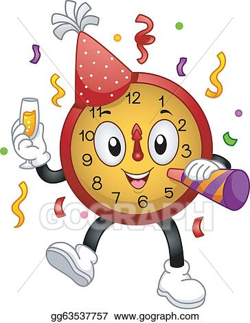 new year clock mascot