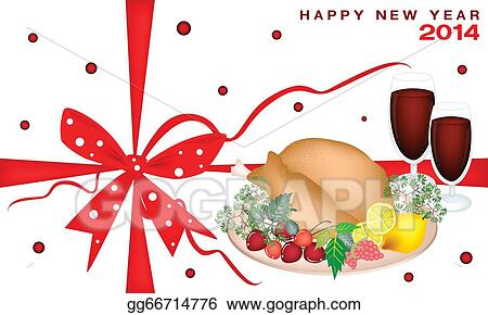 Christmas Dinner Clipart.Vector Stock New Year Gift Card With Christmas Dinner