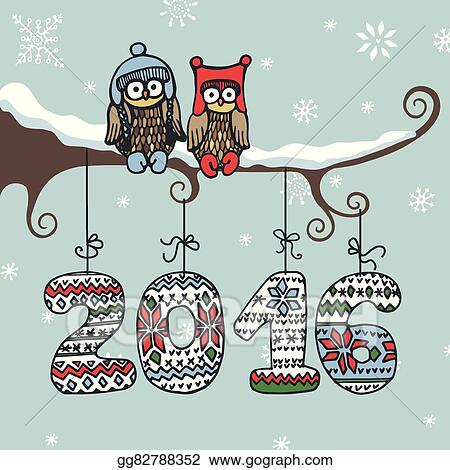 new year greeting carddoodle owlknitted numbers