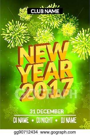 new year party poster design with fireworks light new year disco flyer template celebration invitation card banner