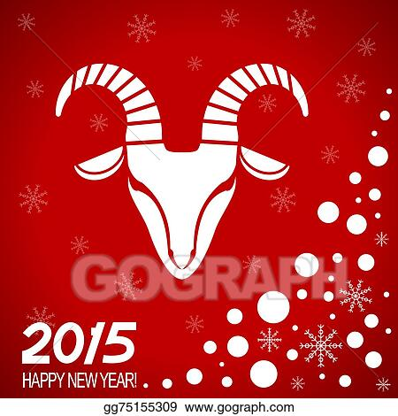 new year red card with goat