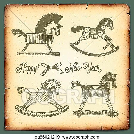 vector illustration new year vintage card with rocking toys horses