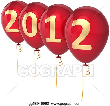 Drawing New Year S 2012 Eve Balloons Clipart Drawing