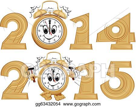 Vector Clipart - New year`s clock. Vector Illustration gg63432054 ...