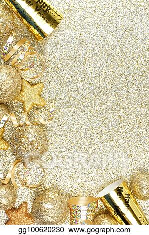 new years eve corner border over a gold background