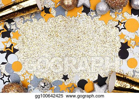 Stock Photo New Years Eve Frame Against Glittery Gold Background