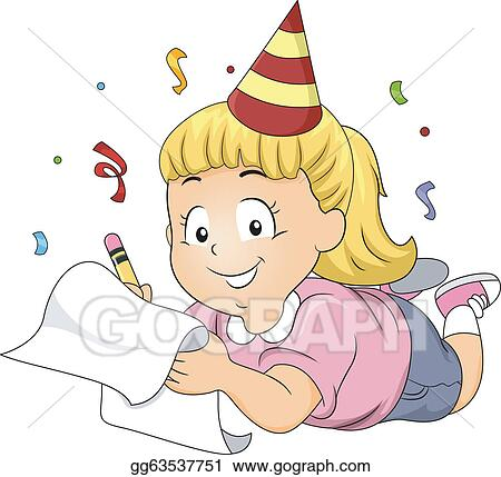 Vector illustration new years resolutions eps clipart vector illustration illustration of a girl wearing a party hat writing her new years resolutions eps clipart gg63537751 voltagebd