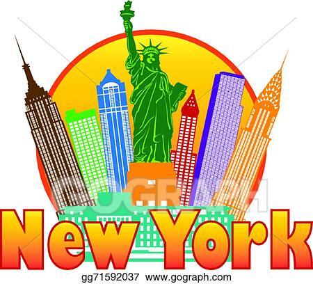 vector stock new york city colorful skyline in circle illustration rh gograph com new york city buildings clipart new york city skyline clipart