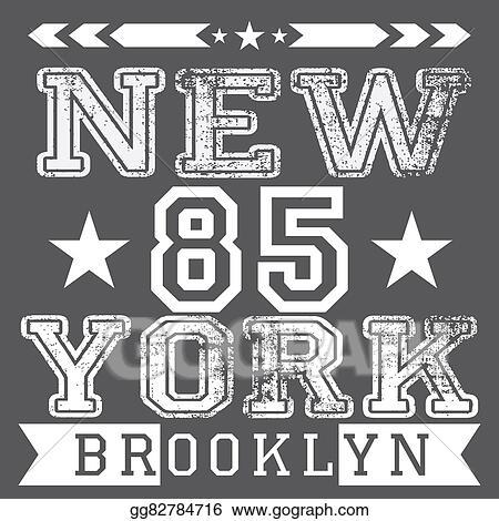 Label T Shirt Design | Stock Illustration New York City Retro Vintage Typography Poster
