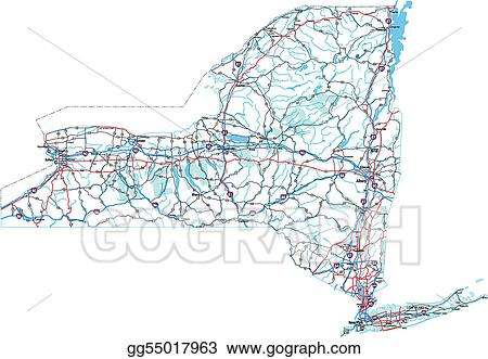 Vector Illustration - New york interstate road map. Stock Clip Art ...