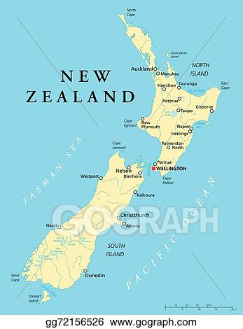 Where Is Wellington New Zealand On The Map.Vector Illustration New Zealand Political Map Stock Clip Art