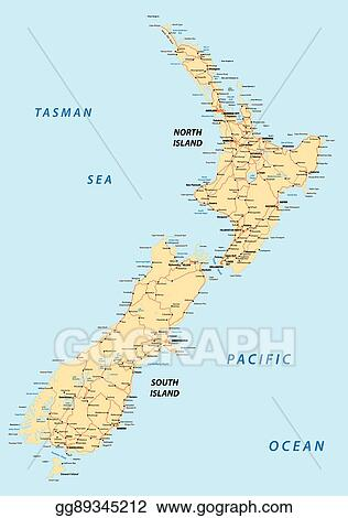 Road Map North Island New Zealand.Eps Vector New Zealand Road Map Stock Clipart Illustration