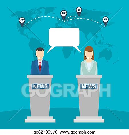 Eps vector news studio on background of the world map two anchors news studio on background of the world map two anchors gumiabroncs Images