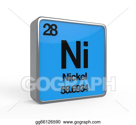 Drawings - Nickel element periodic table  Stock Illustration
