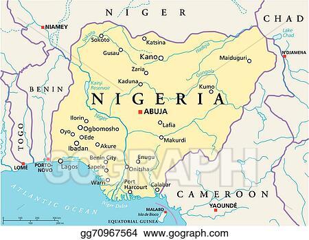 Vector Clipart Nigeria political map Vector Illustration