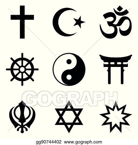 Vector Stock Nine Symbols Of World Religions And Major Religious