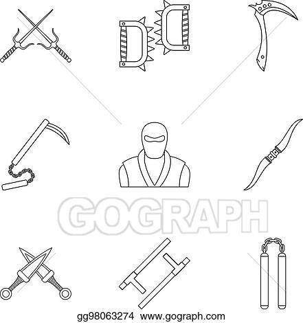 Eps Illustration Ninja Arsenal Icons Set Outline Style Vector