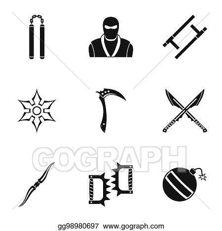 Stock Illustrations Ninja Arsenal Icons Set Simple Style Stock