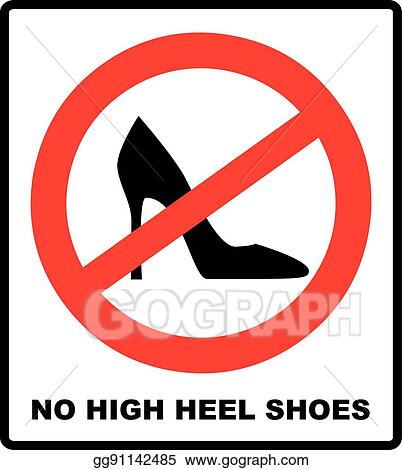be14aff43b73 Vector Stock - No high heel shoes sign on white background. vector ...