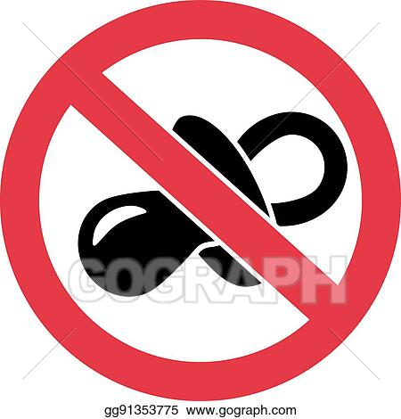 Vector Illustration No Pacifier Ban Symbol Stock Clip