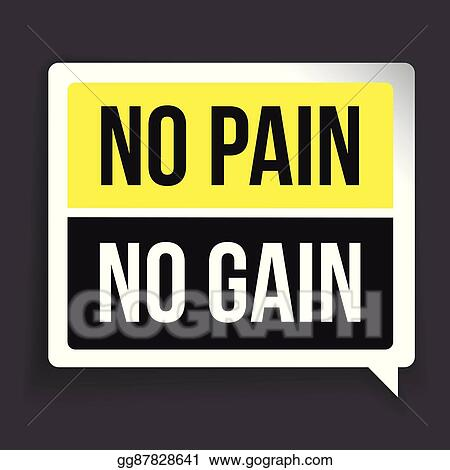 Vector Illustration No Pain No Gain Workout And Fitness