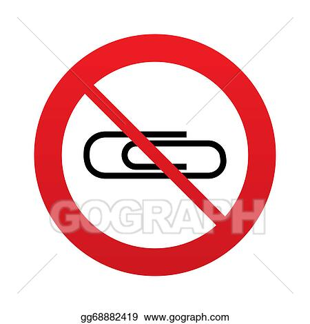 Drawing No Paper Clip Sign Icon Clip Symbol Clipart Drawing