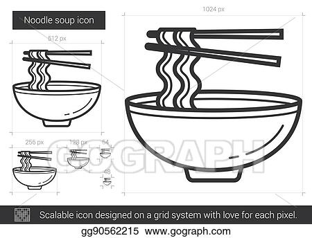 Vector Clipart Noodle Soup Line Icon Vector Illustration Gg90562215 Gograph