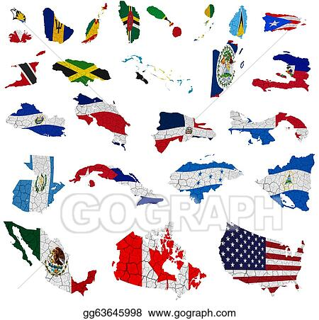 Drawings North America Countries Flag Maps Stock Illustration