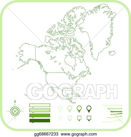 America Map Drawing.Vector Art North America Map Vector Illustration Clipart Drawing