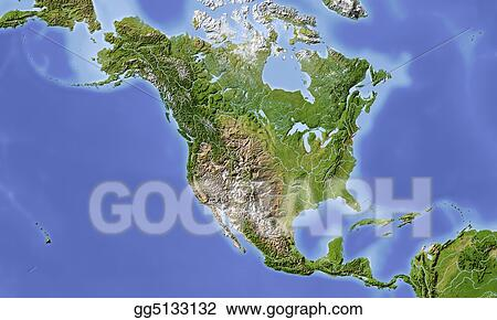 Stock Illustration - North and central america, shaded ... on north america continent map, north america and europe map, north america road map, north central florida counties map, north central us map, north philadelphia neighborhood map, north central wisconsin map, north america and canada map, pacific north america map, north america weather map, north america political map, north and southeast asia map, north america river map, south america map, caribbean map, white north america outline map, north and middle america map, north america regions map, north america states map, west and central africa map,