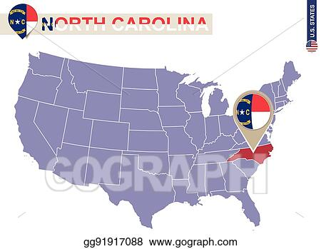 Vector Illustration - North carolina state on usa map. north ...