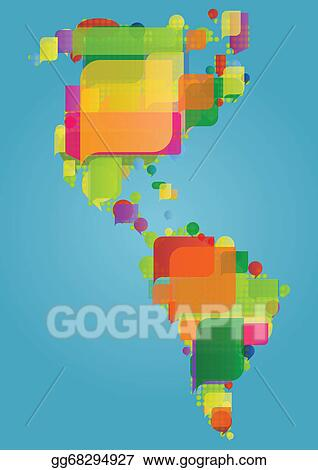 Eps vector north south and central america continent world map north south and central america continent world map made of colorful speech bubbles concept illustration background vector gumiabroncs Images
