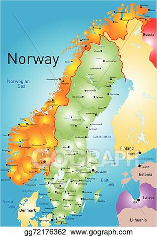 Vector Art Norway Clipart Drawing Gg GoGraph - Norway map drawing